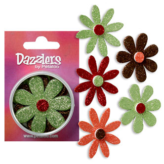 Petaloo - Dazzlers Collection - Large Glittered Florettes - Green Brown Orange and Burgundy, CLEARANCE