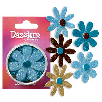 Petaloo - Dazzlers Collection - Large Glittered Florettes - Aqua Teal Tan and Brown, CLEARANCE