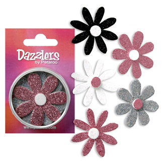 Petaloo - Dazzlers Collection - Large Glittered Florettes - Pink Grey White and Black, CLEARANCE