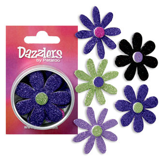 Petaloo - Dazzlers Collection - Large Glittered Florettes - Purple Black Lavender and Green, CLEARANCE
