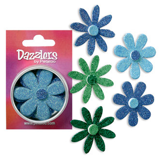Petaloo - Dazzlers Collection - Large Glittered Florettes - Dark Blue Light Blue Green Chartreuse, CLEARANCE