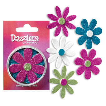 Petaloo - Dazzlers Collection - Large Glittered Florettes - Fuschia Teal Chartreuse and White, CLEARANCE
