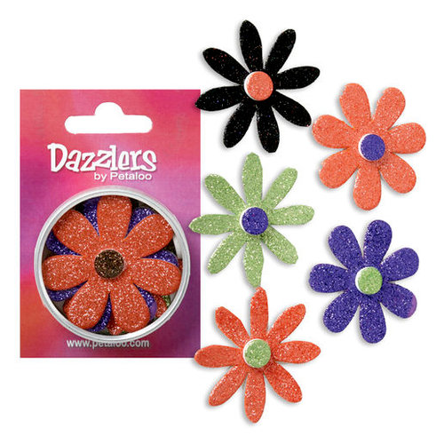 Petaloo - Dazzlers Collection - Large Glittered Florettes - Orange Purple Black and Green, CLEARANCE