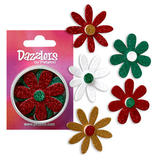 Petaloo - Dazzlers Collection - Large Glittered Florettes - Traditional Christmas - Red Green Gold and White, CLEARANCE
