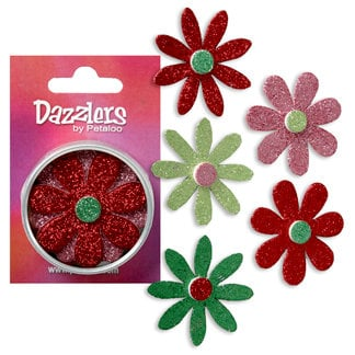 Petaloo - Dazzlers Collection - Large Glittered Florettes - Red Pink Dark Green and Chartreuse, CLEARANCE
