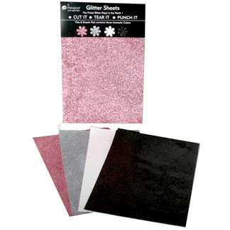 Petaloo - Glitter Paper Sheets - Pink Grey White and Black