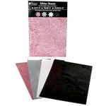 Petaloo - Glitter Paper Sheets - Pink Grey White and Black