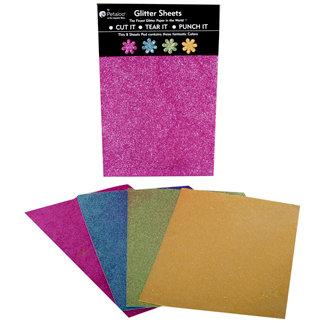 Petaloo - Glitter Paper Sheets - Fuchsia Blue Green and Yellow, CLEARANCE