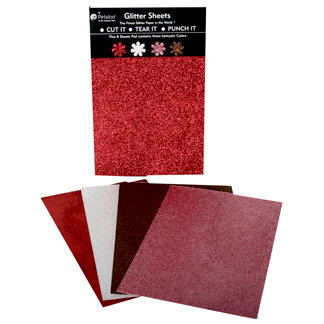 Petaloo - Glitter Paper Sheets - Red White Pink and Chocolate