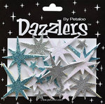 Petaloo - Dazzlers Collection - Christmas - Glittered Sticker Shapes - Northern Stars - Blue Silver and White