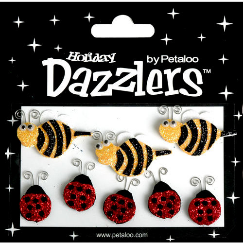 Petaloo - Dazzlers Collection - Glittered Shapes - Spring - Bees and Ladybugs