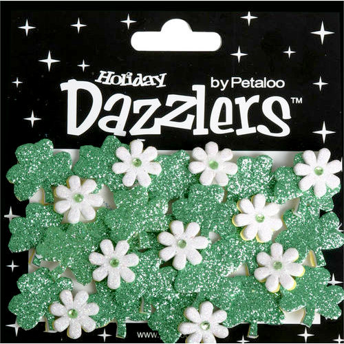 Petaloo - Dazzlers Collection - Glittered Shapes - Spring - Green Shamrocks