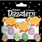 Petaloo - Dazzlers Collection - Glittered Shapes - Spring - Easter Chick and Eggs