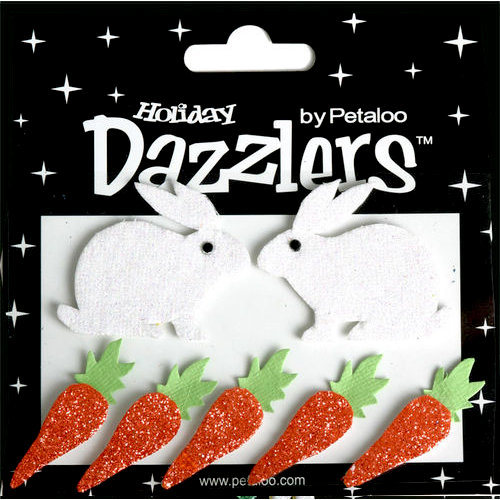 Petaloo - Dazzlers Collection - Glittered Shapes - Spring - Easter Rabbit and Carrots