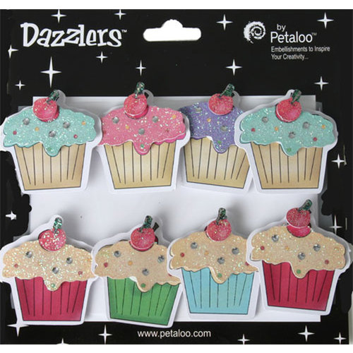 Petaloo - Dazzlers Collection - Glittered Sticker Shapes - Birthday - Cupcakes