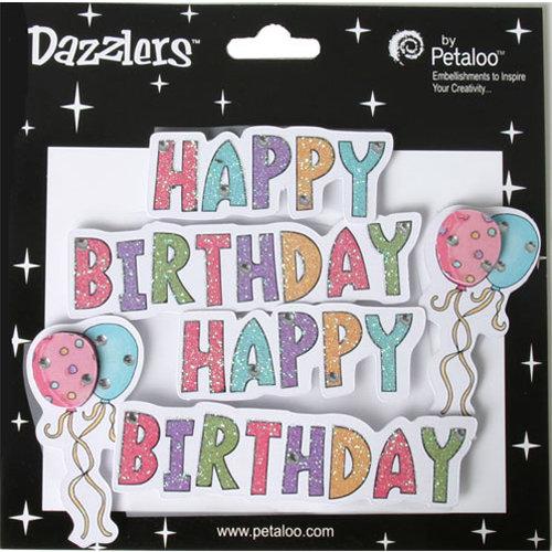 Petaloo - Dazzlers Collection - Glittered Sticker Shapes - Birthday - Happy Birthday