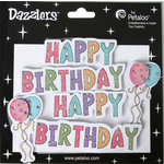 Petaloo - Dazzlers Collection - Glittered Sticker Shapes - Birthday - Happy Birthday