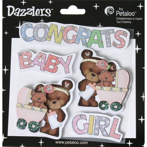 Petaloo - Dazzlers Collection - Glittered Sticker Shapes - Baby - Girl