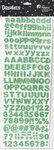Petaloo - Dazzlers Collection - Glittered Sticker Shapes - Alphabet and Numerals - Green