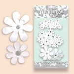 Petaloo - Celebrations Collection - Paper Flowers - Jeweled Daisies - Wedding White, CLEARANCE