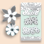 Petaloo - Celebrations Collection - Paper Flowers - Wedding Florettes - Wedding White and Silver