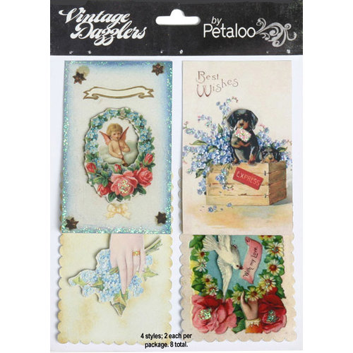 Petaloo - Vintage Dazzlers - 3 Dimensional Stickers with Glitter Accents - Love