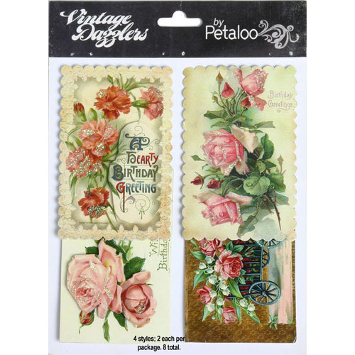 Petaloo - Vintage Dazzlers - 3 Dimensional Stickers with Glitter Accents - Birthday Wishes