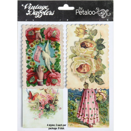 Petaloo - Vintage Dazzlers - 3 Dimensional Stickers with Glitter Accents - Floral