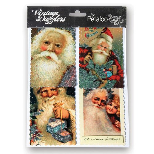 Petaloo - Vintage Dazzlers Collection - Christmas - Glittered Sticker Shapes - Santa's - Red