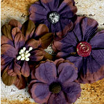 Petaloo - Darjeeling Collection - Floral Embellishments - Eggplant