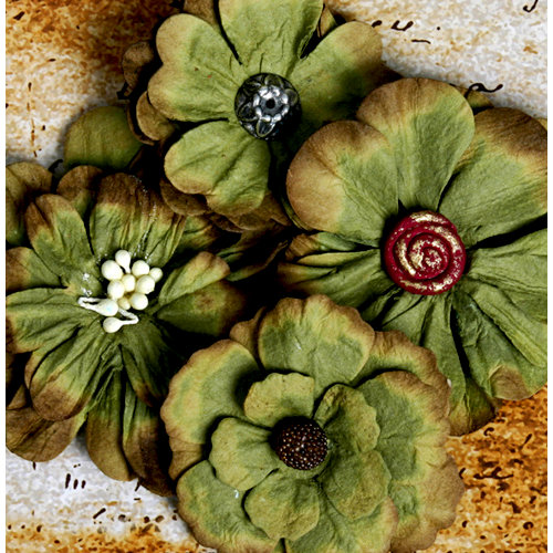 Petaloo - Darjeeling Collection - Floral Embellishments - Sage Green