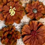 Petaloo - Darjeeling Collection - Floral Embellishments - Brown