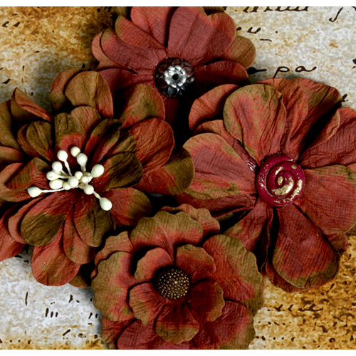 Petaloo - Darjeeling Collection - Floral Embellishments - Burgundy