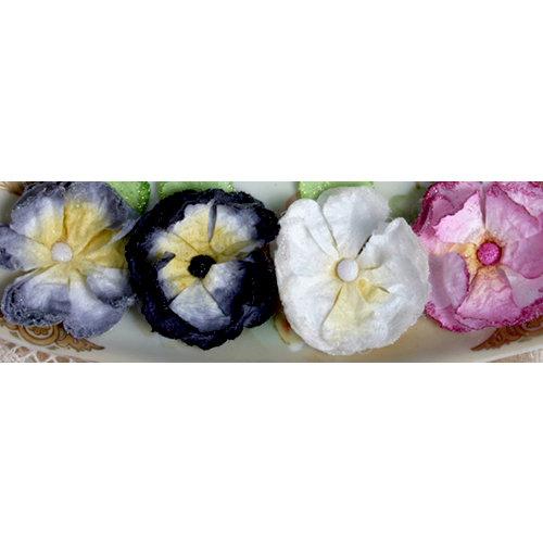 Petaloo - Devon Collection - Glittered Floral Embellishments - Delila - Pink White Black and Grey