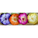 Petaloo - Devon Collection - Glittered Floral Embellishments - Delila - Fuchsia Purple Yellow and Orange