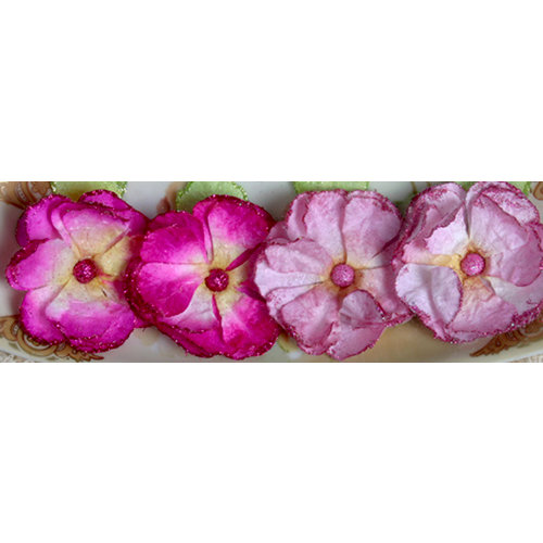 Petaloo - Devon Collection - Glittered Floral Embellishments - Delila - Pink and Fuchsia