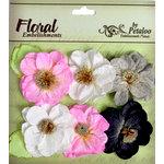 Petaloo - Devon Collection - Glittered Floral Embellishments - Bristol - Pink White Black and Grey