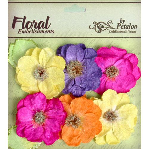 Petaloo - Devon Collection - Glittered Floral Embellishments - Bristol - Fuchsia Purple Yellow and Orange