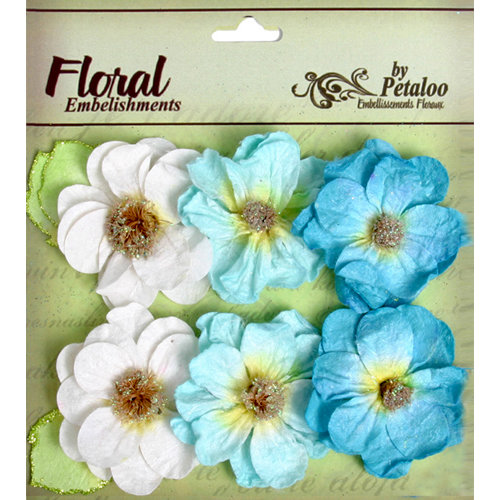 Petaloo - Devon Collection - Glittered Floral Embellishments - Bristol - White Light Blue and Dark Blue