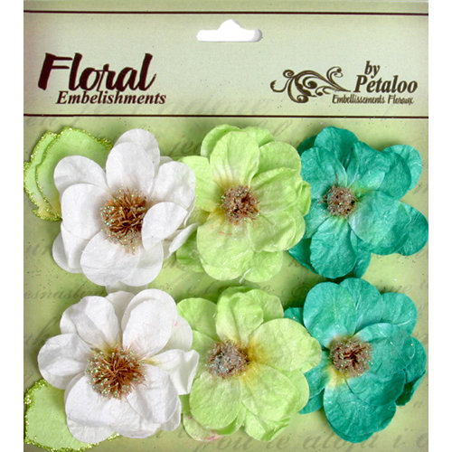 Petaloo - Devon Collection - Glittered Floral Embellishments - Bristol - White Chartreuse and Dark Green