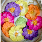 Petaloo - Devon Collection - Glittered Floral Embellishments - Sweetpea - Fuchsia Purple Yellow and Orange