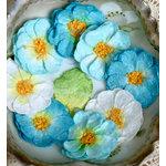 Petaloo - Devon Collection - Glittered Floral Embellishments - Sweetpea - Light Blue White and Dark Blue