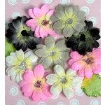 Petaloo - Devon Collection - Glittered Floral Embellishments - Brighton - Pink White Black and Grey