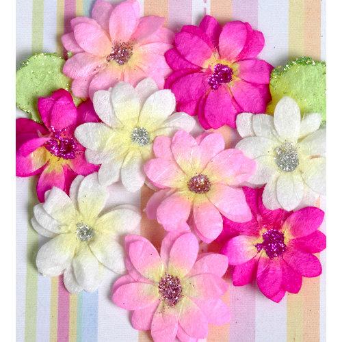 Petaloo - Devon Collection - Glittered Floral Embellishments - Brighton - White Pink and Fuchsia