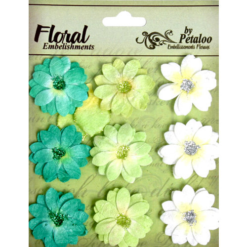 Petaloo - Devon Collection - Glittered Floral Embellishments - Brighton - White Chartreuse and Dark Green