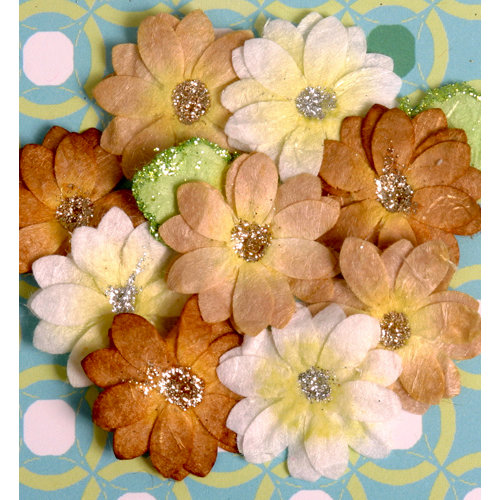 Petaloo - Devon Collection - Glittered Floral Embellishments - Brighton - White Tan and Brown