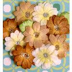 Petaloo - Devon Collection - Glittered Floral Embellishments - Brighton - White Tan and Brown