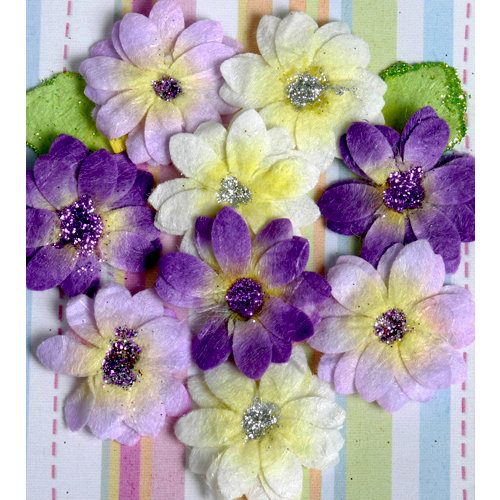 Petaloo - Devon Collection - Glittered Floral Embellishments - Brighton - White Lavender and Purple