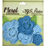 Petaloo - Devon Collection - Crocheted Flowers - Blues