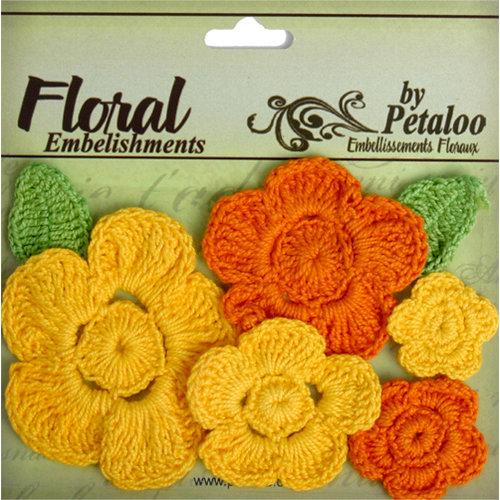 Petaloo - Devon Collection - Crocheted Flowers - Yellow and Orange